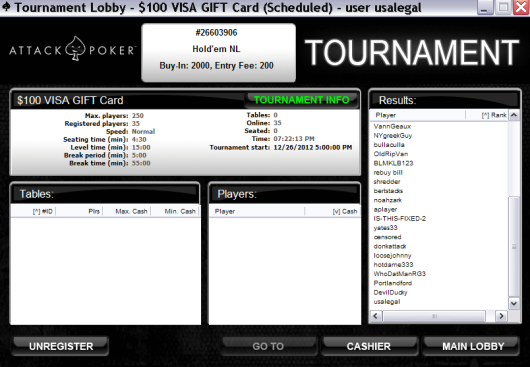 Attack Poker $100 VISA Gift Card Tournament