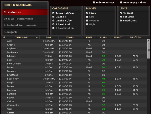 Bovada Ring Game Lobby