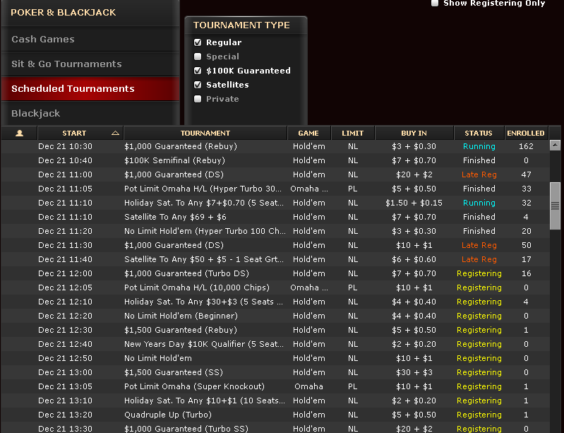 Bovada poker tournaments mobile