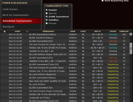 Bovada Tournament Lobby