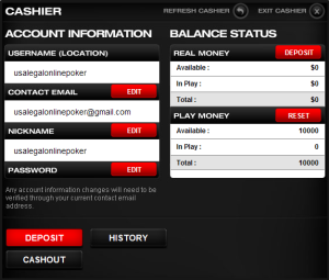 InfinitiPoker Cashier Account Information Page