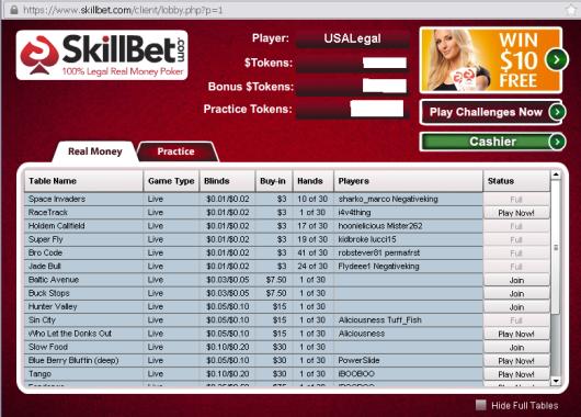 SkillBet Live Game lobby