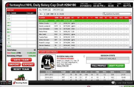 Fantasy Feud NHL Draft Room