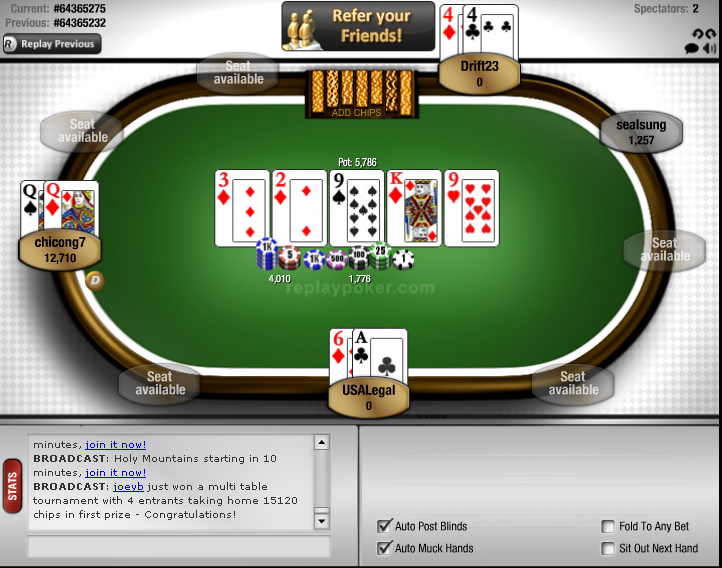 Replay poker texas holdem