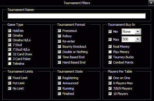 ACR Tournament Filters