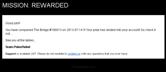 Free Roll win on PokerRebel
