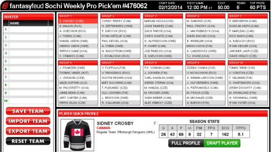 Fantasy Hockey Pick-em Draft Room
