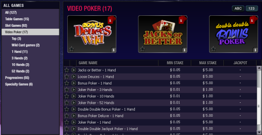 Video Poker choices