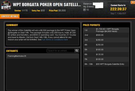 WPT Borgata Poker Open Satellite on DraftKings