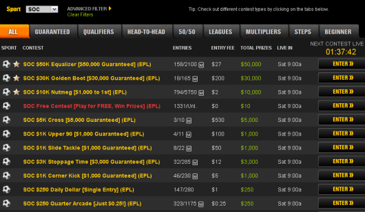 Fantasy Soccer on DraftKings