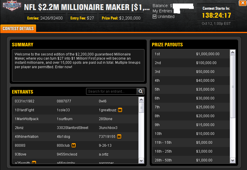 how to win 1 million dollars on draftkings