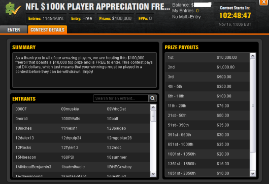 $100K Free Roll Lobby