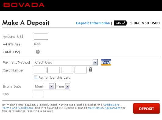 Bovada Deposit Screen