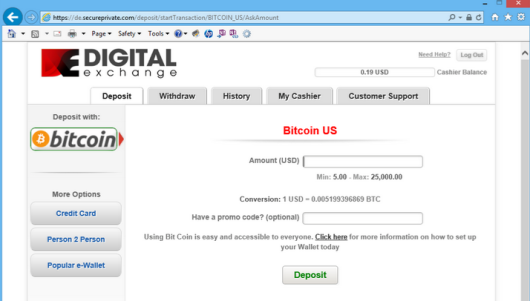 BTC Deposit Option