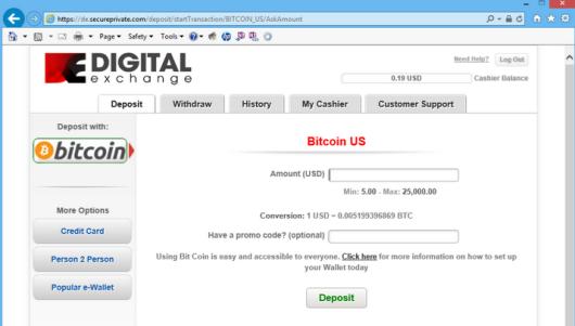 BTC Deposit Option