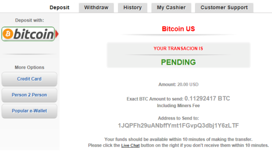 BTC Deposit screen on ACR