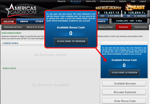 Redeem your Bonus on ACR