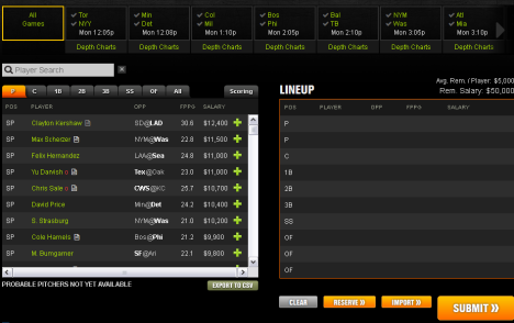 2015 Baseball Draft Lobby on DraftKings