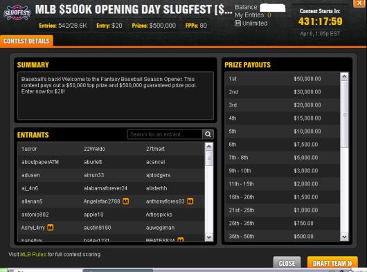 $500K Opening Day Slugfest
