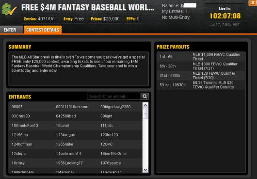 $25K Fantasy Baseball FreeRoll