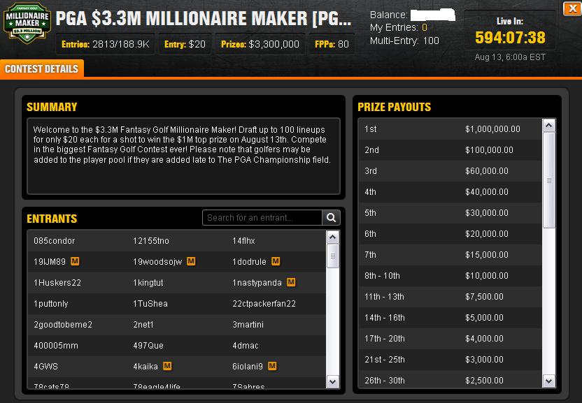 millionaire maker winning lineups