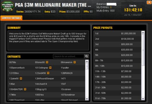 PGA Millionaire Maker  July 16, 2015