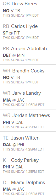 Fan Duel week 2 line up suggestion