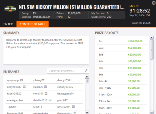 Thursday Night Football on DraftKings