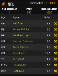 Week One DK Line-up