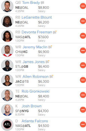 Week 5 Fan Duel Line Up