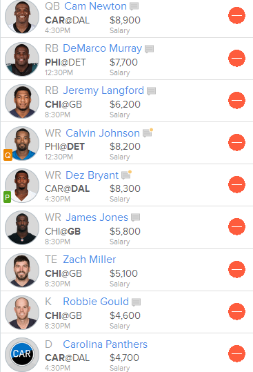 Suggested Thanksgiving Line Up on Fan Duel