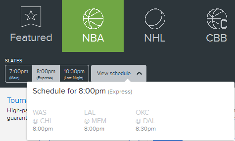 Fan Duel NBA Express Schedule Feb. 24th