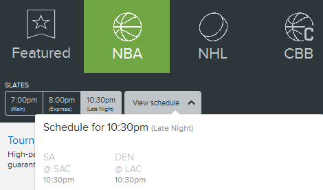 Fan Duel NBA Late Night Schedule Feb. 24th