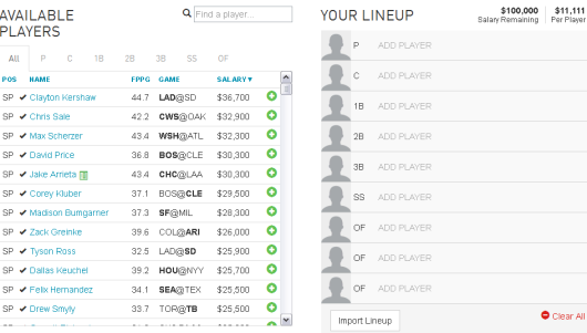 DraftFury  MLB Player Selection Page