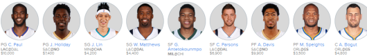 Updated Main Slate Line Up