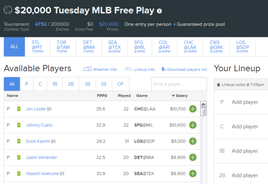 $20K Fan Duel MLB Free Roll