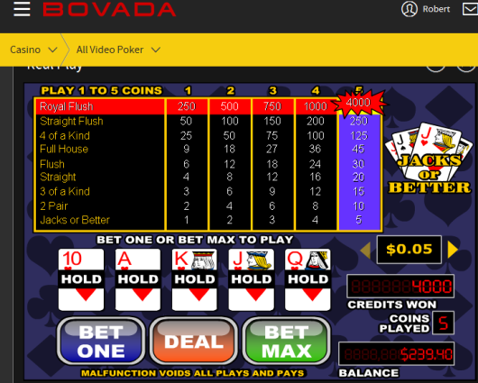 5c X 5 video poker win onBovada
