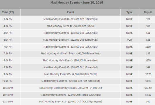 Mad Monday Event Schedule