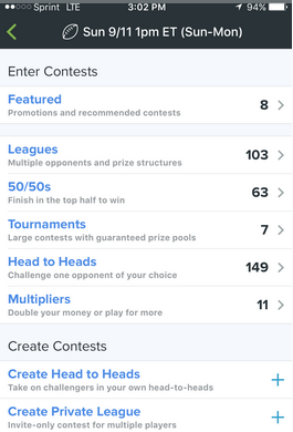 NFL Contests open on Fan Duel
