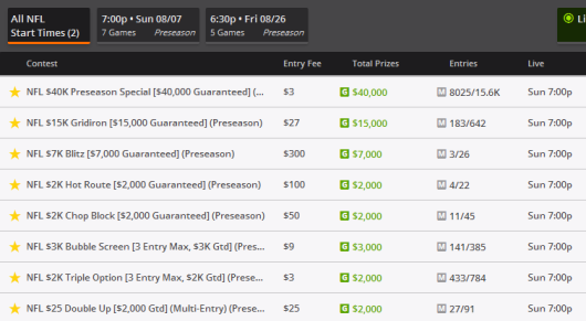 Preseason Contests on DraftKings