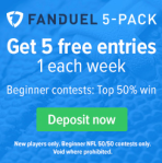 Fan Duel 5 Pack of Free Plays